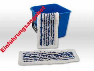 Wischmop Slider Mop mit Microfaserrand ohne Fransen 40cm blau bestens geeignet bei niedrigen Fußleisten