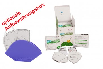 40 x FFP2  Maske Sparpack mit Zertifikat und deutschen Laborbericht je 2 Stück im Beutel + Sonderangebot FFP2 Aufbewahrungsbox dazu