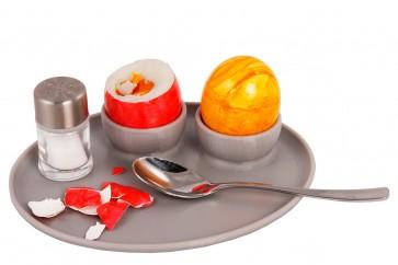 Frühstücksei Eierhalter für 2 Eier mit Tablett  - Sommeraktion