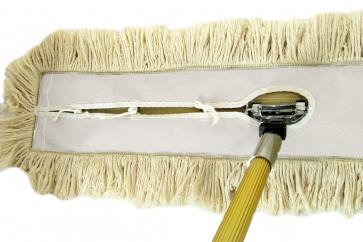 120cm Profi Komplettset 100% Baumwollbezug Parkett  (Metallklapphalter-Profi-Komplett-Set) für Bodenreinigung