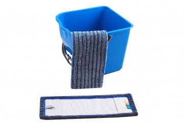 Wischmop Fliesen Borstenmop blau/grau (abrasiv) 50cm farbcodiert