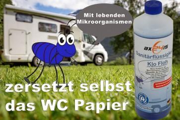 Klo Floh Sanitärflüssigkeit für Camping WC mit Mikroorganismen riecht gut, Wohnwagen, Boot, mobile Toiletten WC Axis Line - Entsorgung im normalen WC möglich