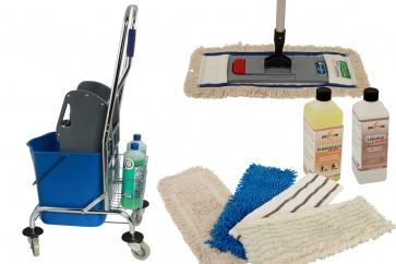 Wischmop Komplettset mit Einfachfahreimer Chrom 27 l - Platzwunder  und Ersatzmöppe und 2 x Profi Reinigungsmittel