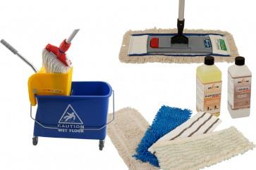 Wischmop Komplettset mit Mini Fahreimer incl. Presse 17 l  und Ersatzmöppe und 2 x Profi Reinigungsmittel