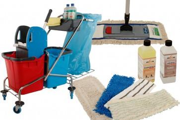 Wischmop Komplettset mit Doppelfahrwagen Reinigungswagen Chrom 25 Liter mit Müllsackhalter und Ersatzmöppe und 2 x Profi Reinigungsmittel