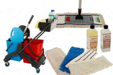 Wischmop Komplettset mit Doppelfahrwagen Reinigungswagen 17 Liter Kunststoff und Ersatzmöppe und 2 x Profi Reinigungsmittel