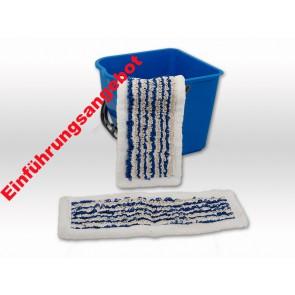 Slider Mopp mit Microfaserrand ohne Fransen 40cm blau bestens geeignet bei niedrigen Fußleisten