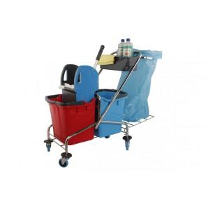 Doppelfahrwagen Reinigungswagen Chrom 25 Liter mit Müllsackhalter
