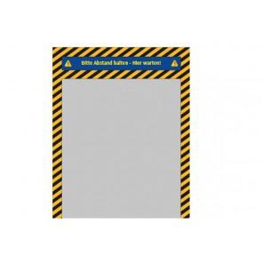 """Bodenaufkleber (indoor) """"Bitte Abstand halten"""" – Streifen + Gang - hier warten 80x100 cm"""