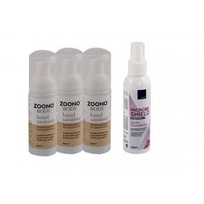 Zoono-Bundle: 3 x Händedesinfektion bis 24 Std. + 1 x Oberflächendesinfektion bis 15 Tage