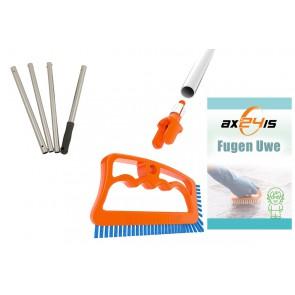 Fugeneiniger Fuginator® komplett Set Fugenbürste, Adapter, Stiel, Chemie Fugenuwe